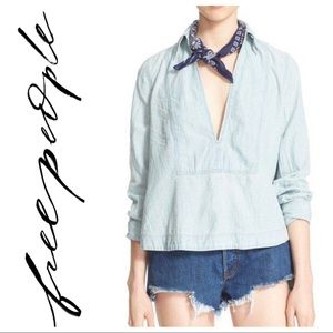 Free People Ready or Not Chambray Rumi Pullover